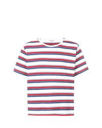 Camiseta con cuello circular de rayas horizontales en multicolor de Saint Laurent