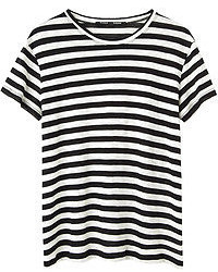 Camiseta con cuello circular de rayas horizontales en negro y blanco