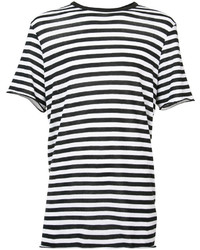 Camiseta con cuello circular de rayas horizontales en negro y blanco de Amiri