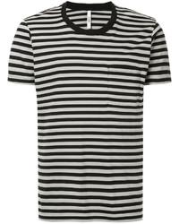 Camiseta con cuello circular de rayas horizontales en negro y blanco de Attachment