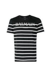 Camiseta con cuello circular de rayas horizontales en negro y blanco de Balmain