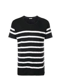 Camiseta con cuello circular de rayas horizontales en negro y blanco de Each X Other