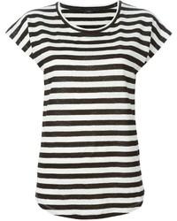 Camiseta con cuello circular de rayas horizontales en negro y blanco de Joseph