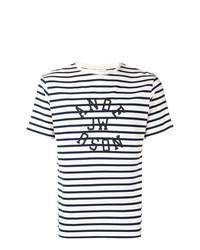 Camiseta con cuello circular de rayas horizontales en negro y blanco de JW Anderson