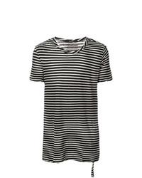 Camiseta con cuello circular de rayas horizontales en negro y blanco de Ksubi