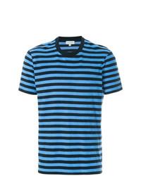 Camiseta con cuello circular de rayas horizontales en turquesa de CK Calvin Klein