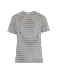 Camiseta con cuello circular de rayas horizontales gris