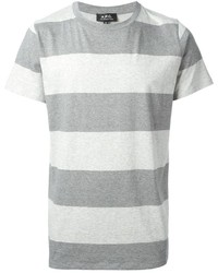 Camiseta con cuello circular de rayas horizontales gris de A.P.C.
