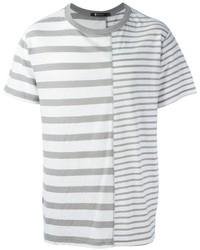 Camiseta con cuello circular de rayas horizontales gris de Alexander Wang