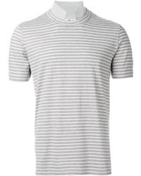 Camiseta con cuello circular de rayas horizontales gris de Brunello Cucinelli