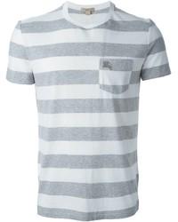 Camiseta con cuello circular de rayas horizontales gris de Burberry