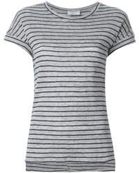 Camiseta con cuello circular de rayas horizontales gris de Frame Denim