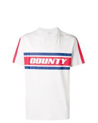 Camiseta con cuello circular de rayas horizontales gris de Marcelo Burlon County of Milan