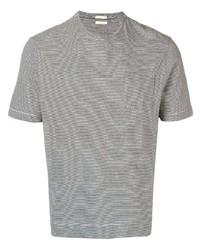 Camiseta con cuello circular de rayas horizontales gris de Massimo Alba
