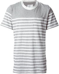 Camiseta con cuello circular de rayas horizontales gris de Sacai