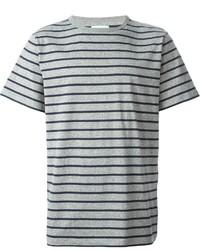 Camiseta con cuello circular de rayas horizontales gris de Saturdays Surf NYC