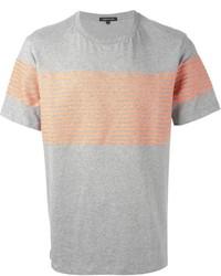 Camiseta con cuello circular de rayas horizontales gris de Surface to Air