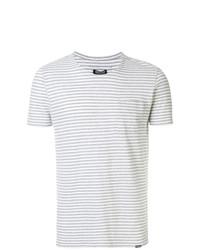 Camiseta con cuello circular de rayas horizontales gris de Woolrich