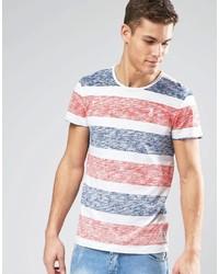 Camiseta con cuello circular de rayas horizontales naranja