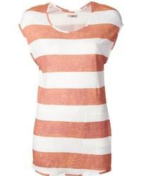 Camiseta con cuello circular de rayas horizontales naranja de Humanoid