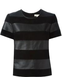 Camiseta con cuello circular de rayas horizontales negra de MICHAEL Michael Kors
