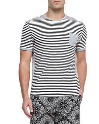 Camiseta con cuello circular de rayas horizontales original 390134
