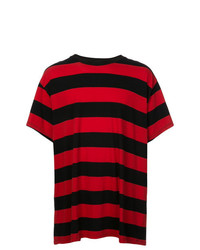 Camiseta con cuello circular de rayas horizontales roja de Amiri