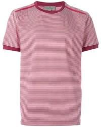 Camiseta con cuello circular de rayas horizontales roja de Canali