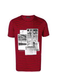 Camiseta con cuello circular de rayas horizontales roja de Diesel Black Gold