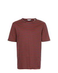 Camiseta con cuello circular de rayas horizontales roja de Gieves & Hawkes