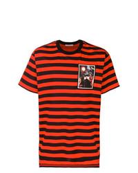 Camiseta con cuello circular de rayas horizontales roja de Givenchy