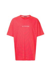 Camiseta con cuello circular de rayas horizontales roja de GUILD PRIME