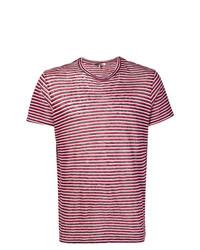 Camiseta con cuello circular de rayas horizontales roja de Isabel Marant