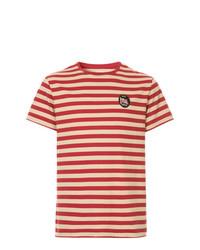Camiseta con cuello circular de rayas horizontales roja de Kent & Curwen