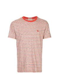 Camiseta con cuello circular de rayas horizontales roja de MAISON KITSUNÉ