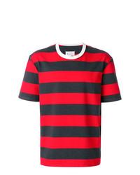 Camiseta con cuello circular de rayas horizontales roja de Maison Margiela