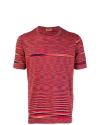 Camiseta con cuello circular de rayas horizontales roja de Missoni