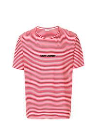 Camiseta con cuello circular de rayas horizontales roja de Saint Laurent