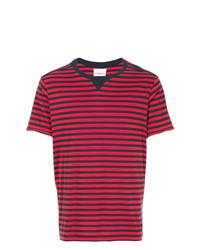 Camiseta con cuello circular de rayas horizontales roja de Takahiromiyashita The Soloist