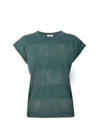 Camiseta con cuello circular de rayas horizontales verde oscuro