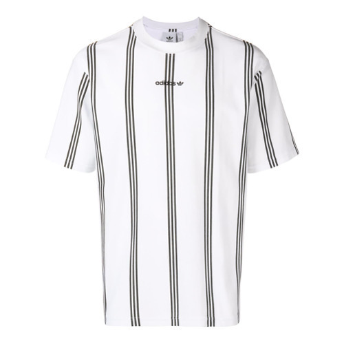 camiseta a rayas verticasles adidas blanca