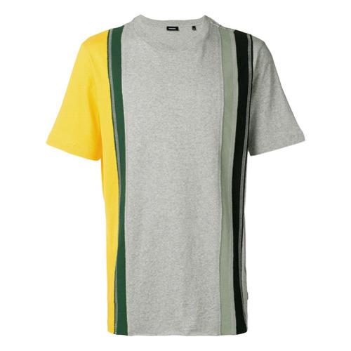 Camiseta con cuello circular de rayas verticales gris de Diesel