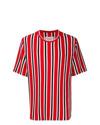 Camiseta con cuello circular de rayas verticales roja de Maison Margiela