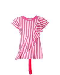 Camiseta con cuello circular de rayas verticales rosa de Golden Goose Deluxe Brand