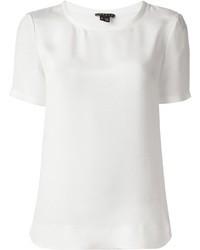 Camiseta con cuello circular de seda blanca de Theory
