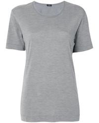 Camiseta con cuello circular de seda gris de Joseph