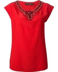 Camiseta con cuello circular de seda roja de Dolce & Gabbana
