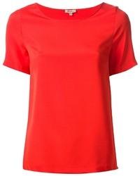 Camiseta con cuello circular de seda roja de P.A.R.O.S.H.