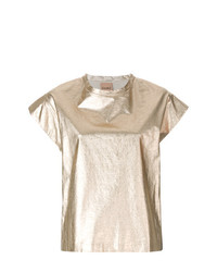 Camiseta con cuello circular dorada de Nude