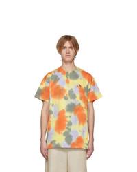 Camiseta con cuello circular efecto teñido anudado amarilla